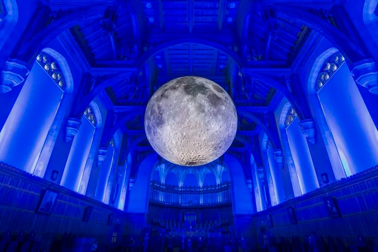 Luke Jerram's Museum of the Moon at the University of Bristol, Bristol, UK The exhibit comes to The Franklin Institute this December. Carolyn Eaton/Alamy News Live