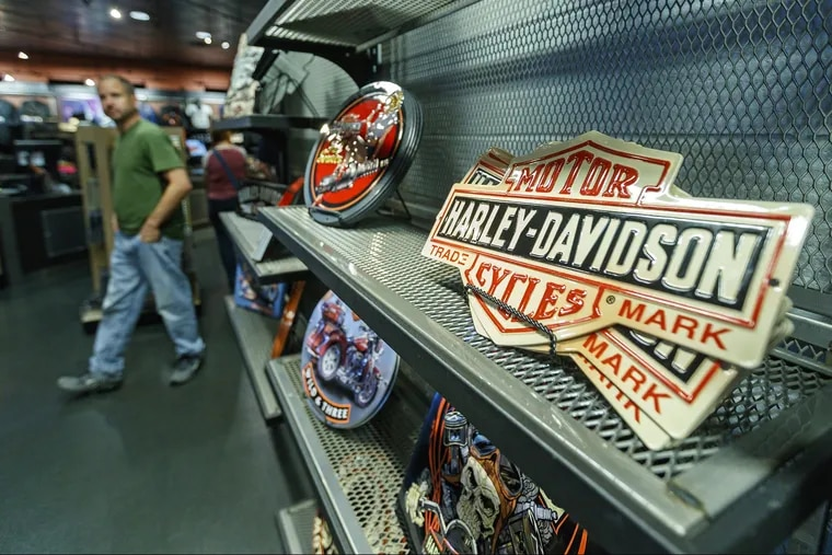 The Harley-Davidson factory in York, PA has a gift shop. The company has been hurt by tariffs.