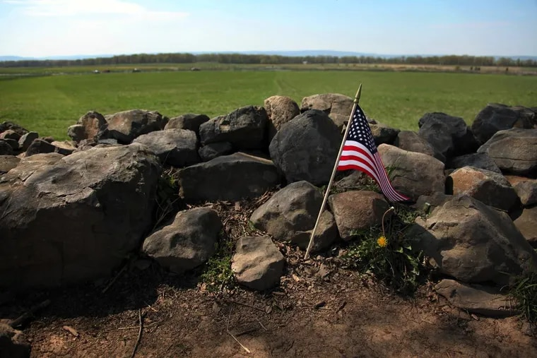 The Bloody Angle on the Union lines where Pickett's Charge was repulsed on the third day of fighting on July 3, 1863. The angle in the stone wall is considered the high-water mark of the Confederacy.