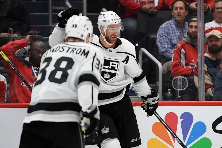 Kings forward Jeff Carter (rear), here celebrating a goal with Carl Grundstrom earlier this month, could be a trade candidate before Monday's deadline.