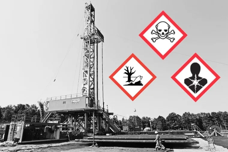 The drill platform at the Cabot Oil & Gas Corp Flower drill site, outside of Dimock. Pa. An analysis by The Inquirer's editorial board of 280 chemicals used in fracking found that all but 48 had been assigned a safety warning.