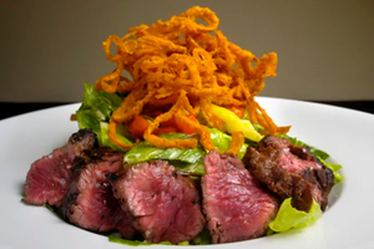 Entree salads are winners at 707. This is steak salad, heaping greenery with seared slices of hanger steak, provolone and crispy onions. Too many dishes, however, seem to lean more on concept than on careful cooking.