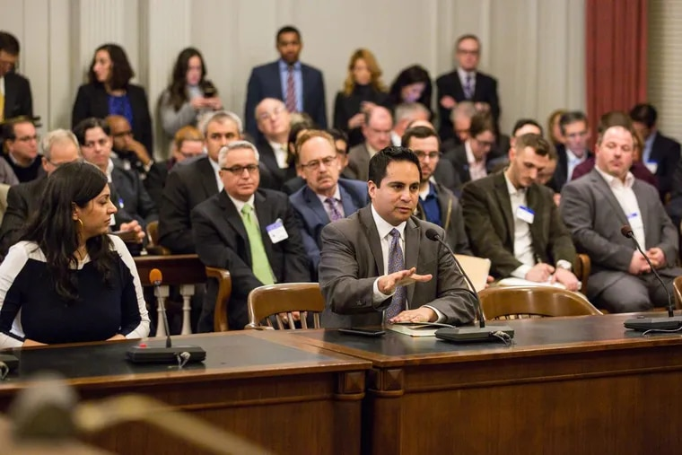 At New Jersey's first hearing on legal pot this year, held in the statehouse, Colorado state Rep. Dan Pabon testifies about how  legalization worked in his state.
