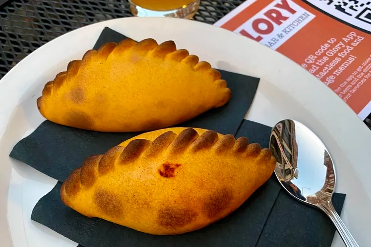 Salteñas, which are empanada-like snacks rooted in Bolivia, at Glory Beer Bar. They come three to an order.