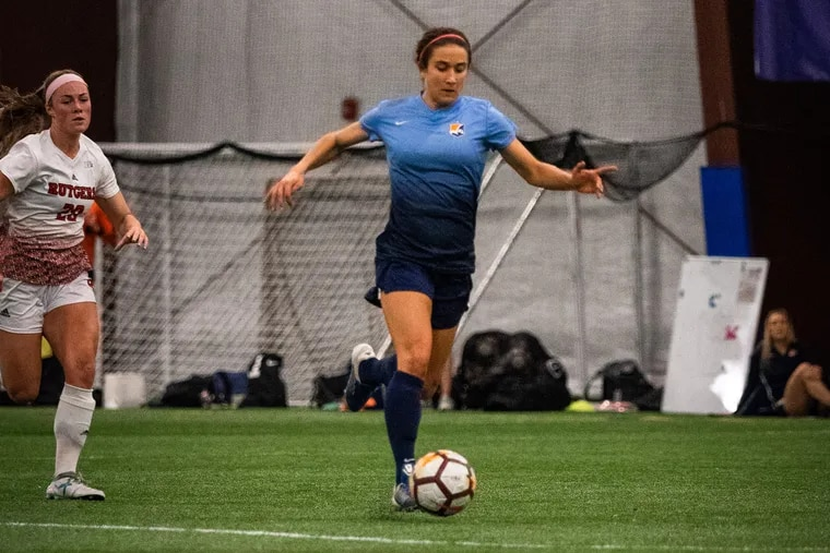 Jen Hoy in action for Sky Blue FC in a preseason scrimmage against Rutgers.