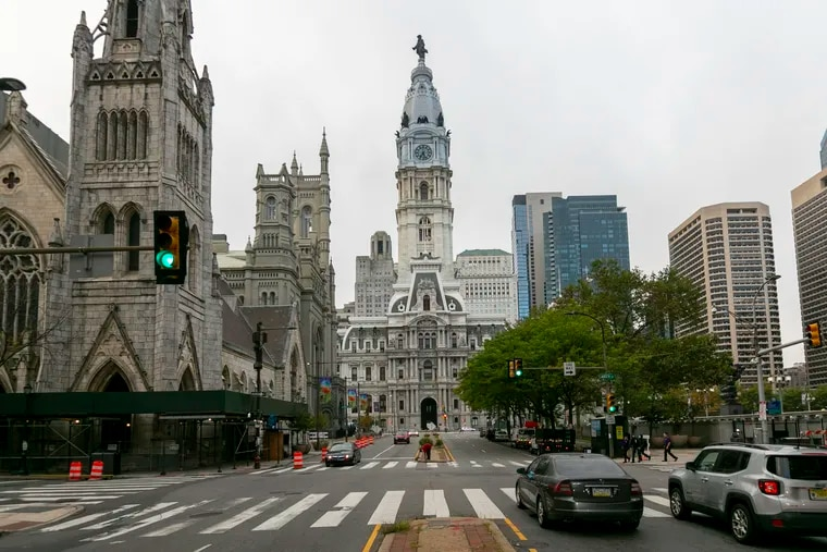 Philadelphia City Hall as seen from Arch Street on Tuesday, Sept. 29, 2020.