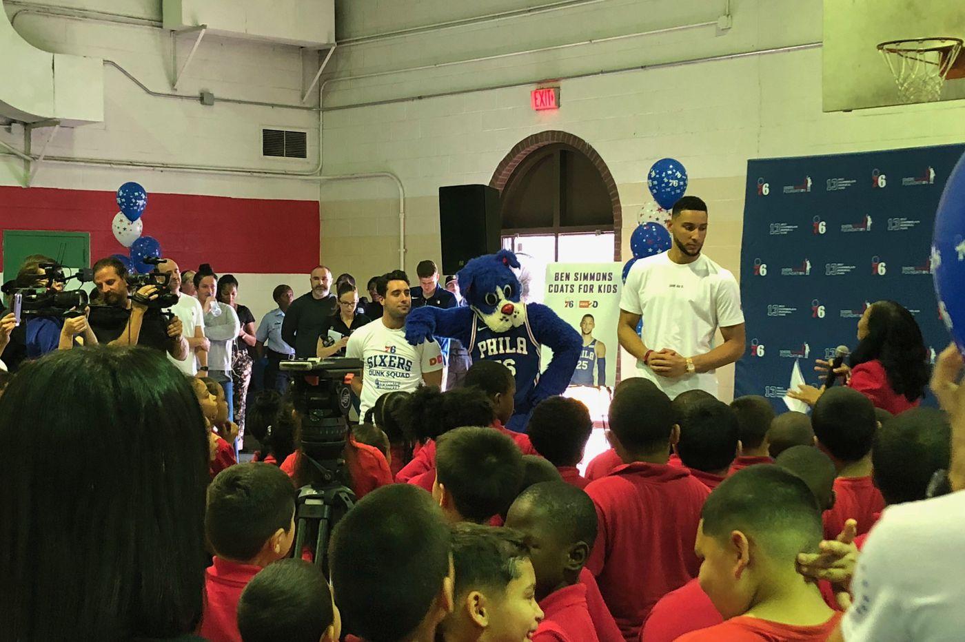 Ben Simmons surprises Cramp Elementary School students with coats