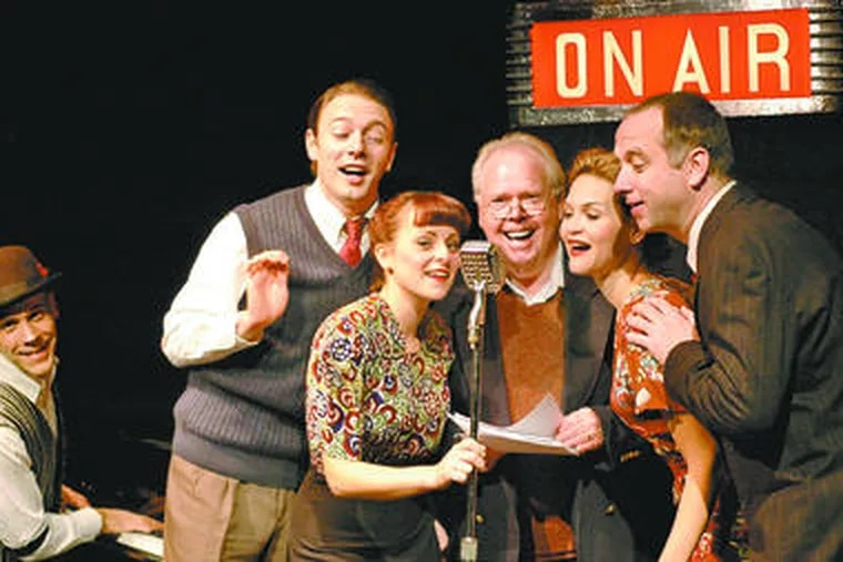 """""""It's a Wonderful Life,"""" done as a live radio production by (from left) Collin Maier, Jered McLenigan, Rachel Brennan, Tom McCarthy, Jennifer Page and Pete Pryor."""
