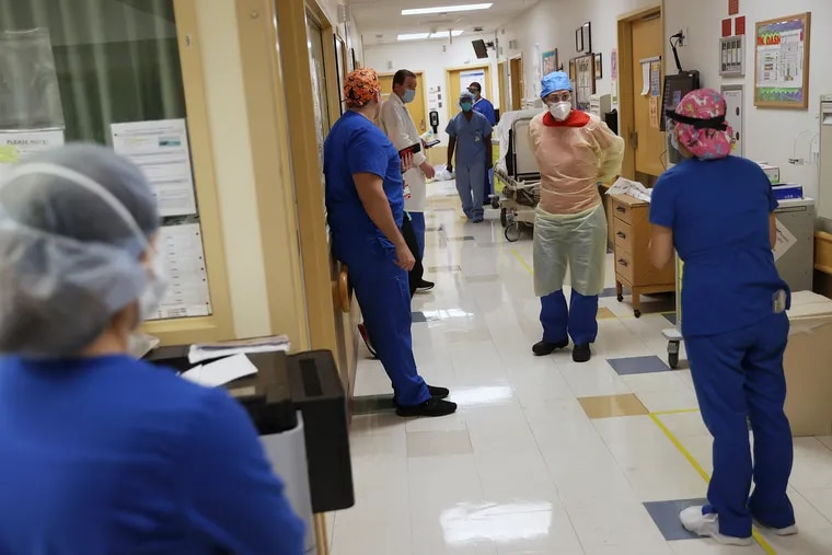 Nurses at Temple University Hospital, shown here in April 2020, will get the opportunity to earn bonuses for working overtime under a proposal by Temple management.
