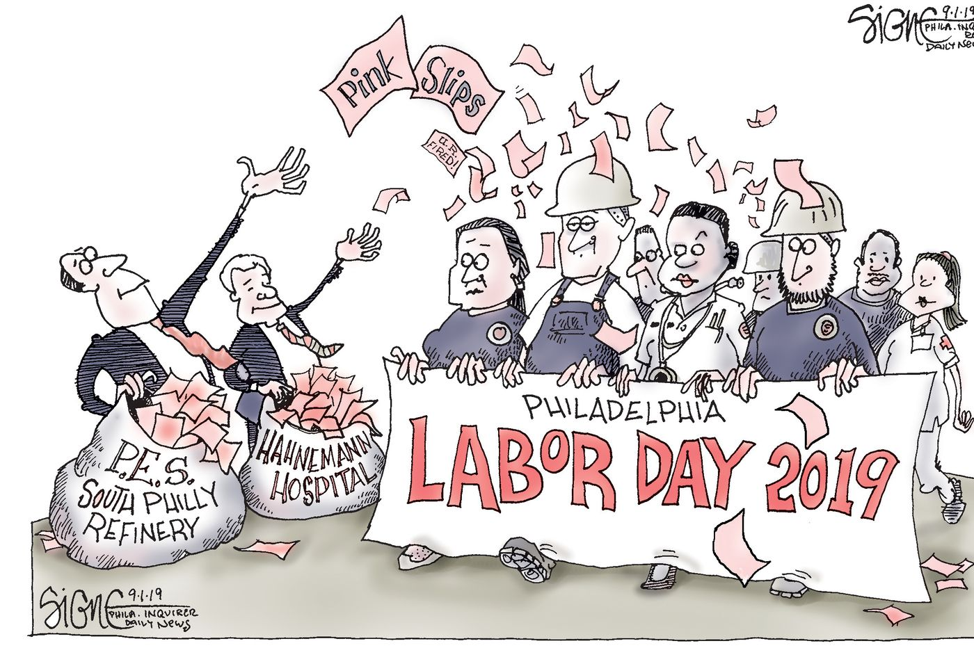 Political Cartoon: Labor Day pink slips for Philly workers
