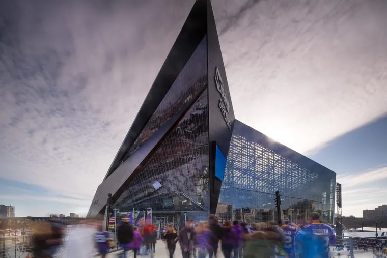 U.S. Bank Stadium in Minneapolis is one of a new generation of glassy, modernist, roofed football stadiums.