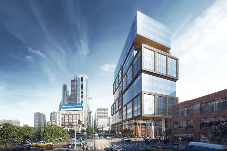 Artist's rendering of an office tower planned at 23rd and Market Streets, seen here looking east toward existing Center City skyline.