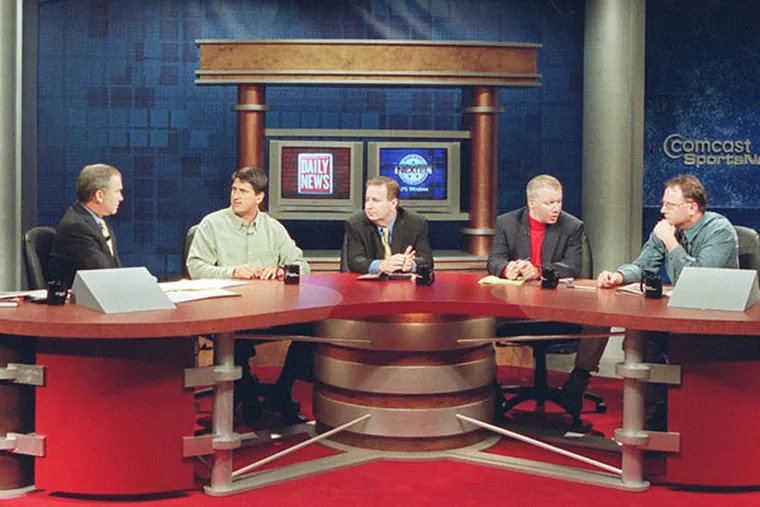 """The """"Daily News Live"""" broadcast on Oct. 10, 2002, From left are Michael Barkann, Keith Jones, Dick Jerardi, Bob Cooney, and Ed Barkowitz."""
