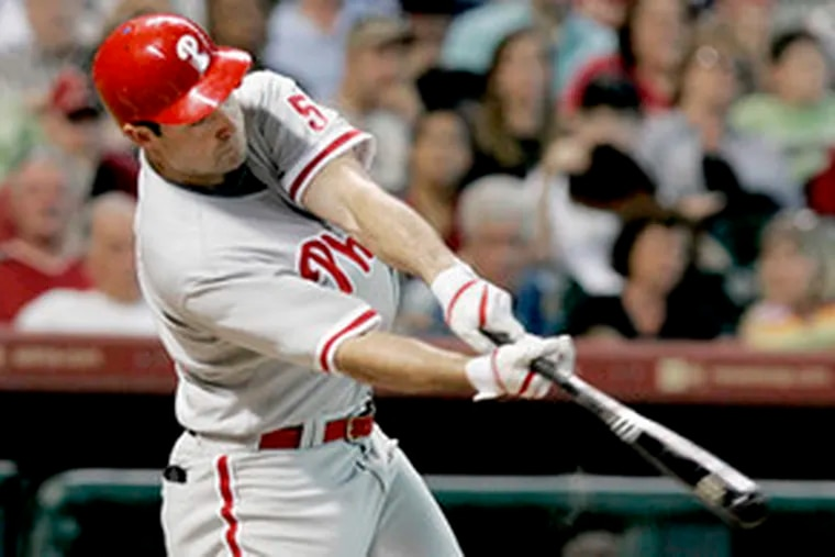 Pat Burrell supplies the Phillies' first run with a second-inning homer. Manager Charlie Manuel briefly considered not starting Burrell for a second straight game.