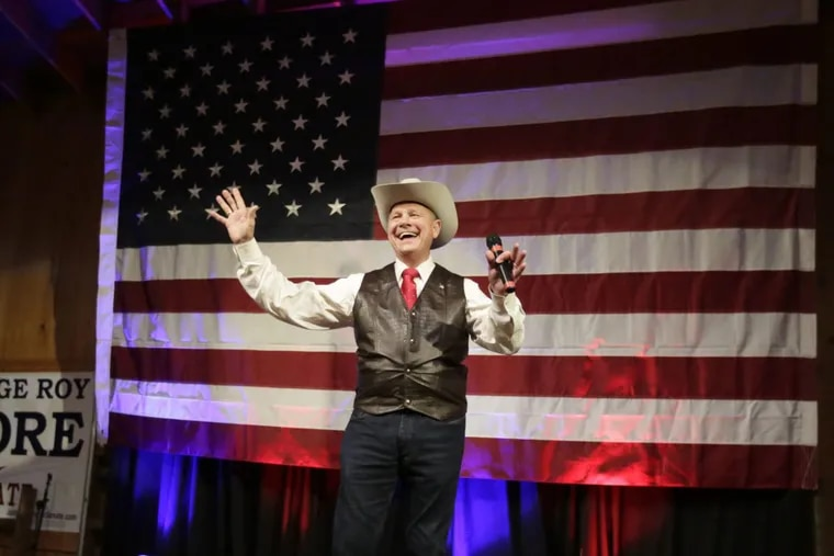 Former Alabama Chief Justice and U.S. Senate candidate Roy Moore at a campaign rally in Fairhope, Ala., in September.