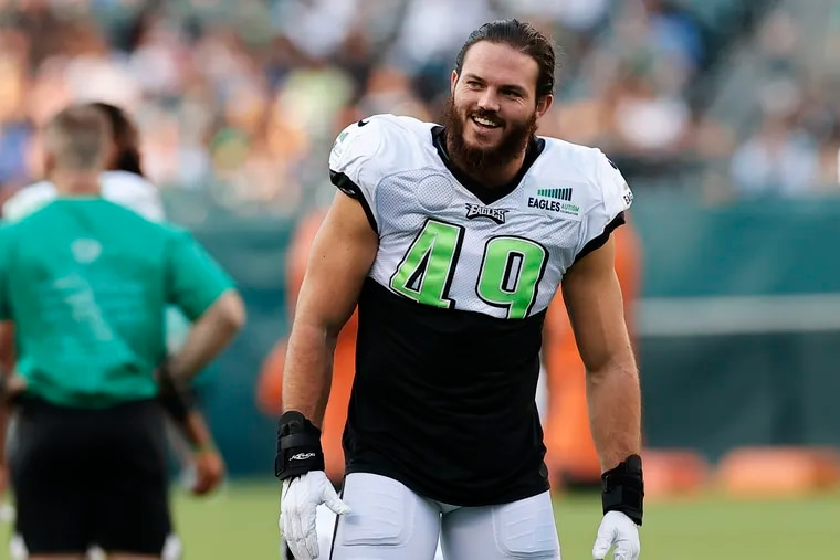 Eagles linebacker Alex Singleton during training camp at Lincoln Financial Field on Sunday, August 8, 2021.