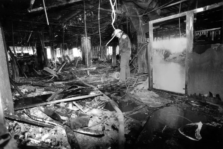 Philadelphia Fire Department Lt. Robert Buckley during an aftermath inspection on Feb. 24, 1991.
