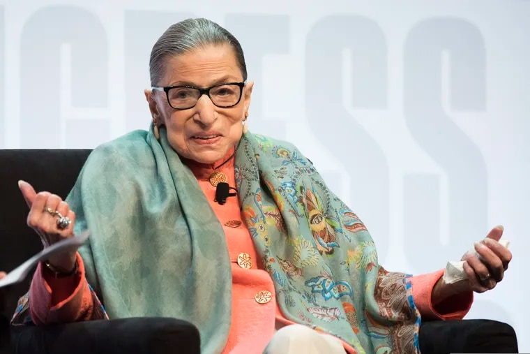 Supreme Court Associate Justice Ruth Bader Ginsburg is the subject of an exhibition at NMAJH on Independence Mall, and a program at the National Constitution Center, too. (AP Photo/Cliff Owen)