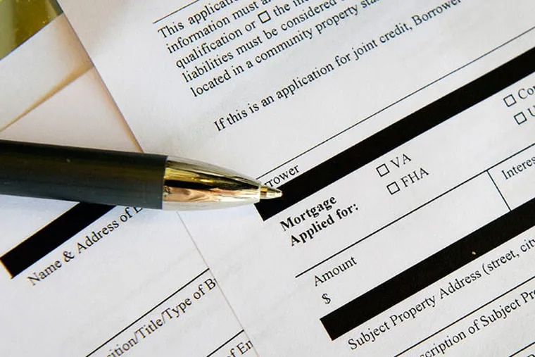 A residential home loan application lists FHA mortgage financing among its options.