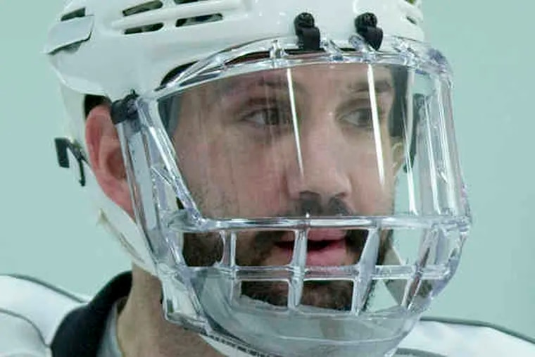 Ian Laperriere at practice. Laperriere and Jeff Carter both returned to the Flyers' lineup during the Montreal series; Simon Gagne made his return during the Boston series.