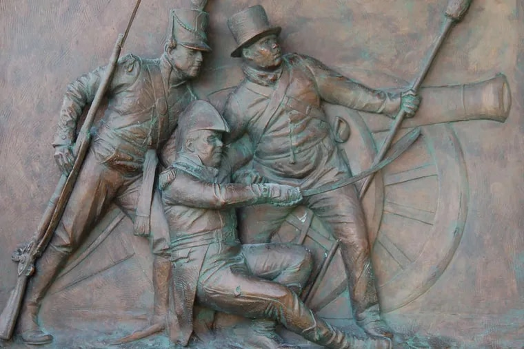 A new monument to the War of 1812's Battle of Bladensburg depicts the wounded Commodore Joshua Barney being assisted by a Marine and former slave Charles Ball (right) during the fighting.