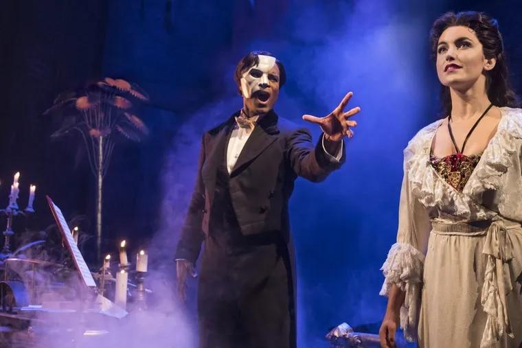 "Derrick Davis as the Phantom and Eva Tavares as Christine in ""Phantom of the Opera,"" playing through Nov. 12 at the Academy of Music."
