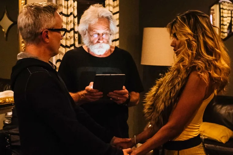 Bob Weir (center) officiates at the marriage of Geoff Gordon, the regional president of Live Nation, and Sayeeda Kibria.