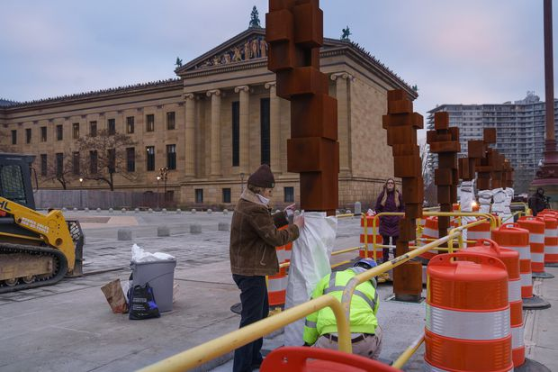 Huge Art Museum sculptures now being unveiled atop the Rocky steps