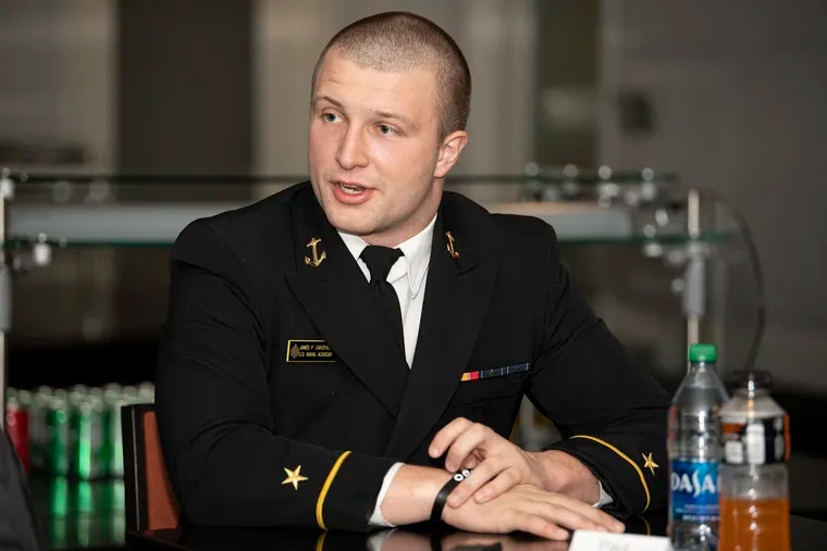 Paul Carothers, Navy player, speaks during an interview at Lincoln Financial Field.