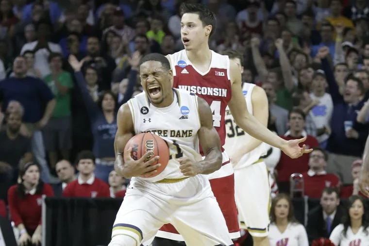 Notre Dame's Demetrius Jackson reacts after being fouled by Wisconsin's Bronson Koenig with only seconds to go.