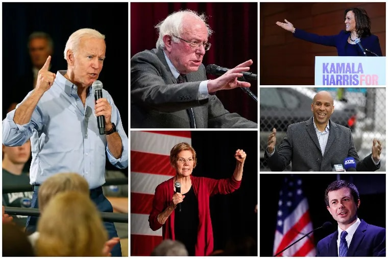 Democratic presidential candidates Joe Biden, Bernie Sanders, Kamala Harris, Cory Booker, Pete Buttigieg and Elizabeth Warren (clockwise from left) are among the 20 candidates scheduled to debate in Miami Wednesday and Thursday night.
