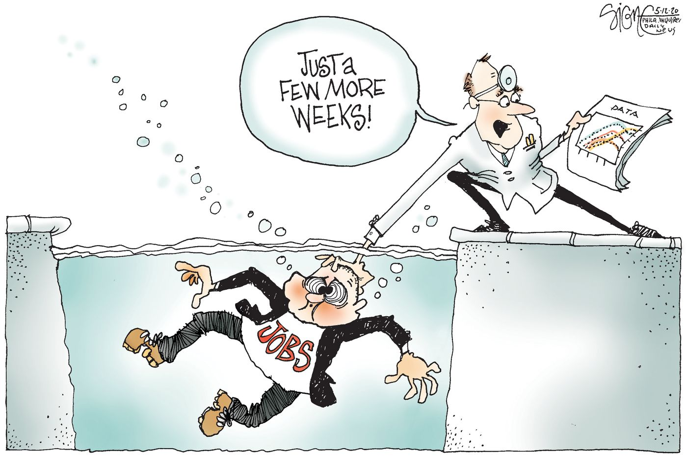 Political Cartoon: Underwater in the job pool