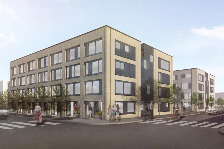 Artist's rendering of triplex development planned for 2601-15 Emerald St. in Kensington, as seen from the corner of Emerald and Huntingdon Streets.