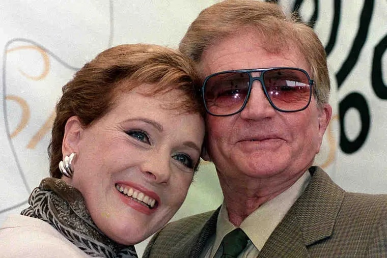 """Blake Edwards with his wife, Julie Andrews, in 1992. At left, Edwards at a celebration in 1999 of his first """"Pink Panther"""" films. See a list of his films via http:// go.philly.com/blake."""