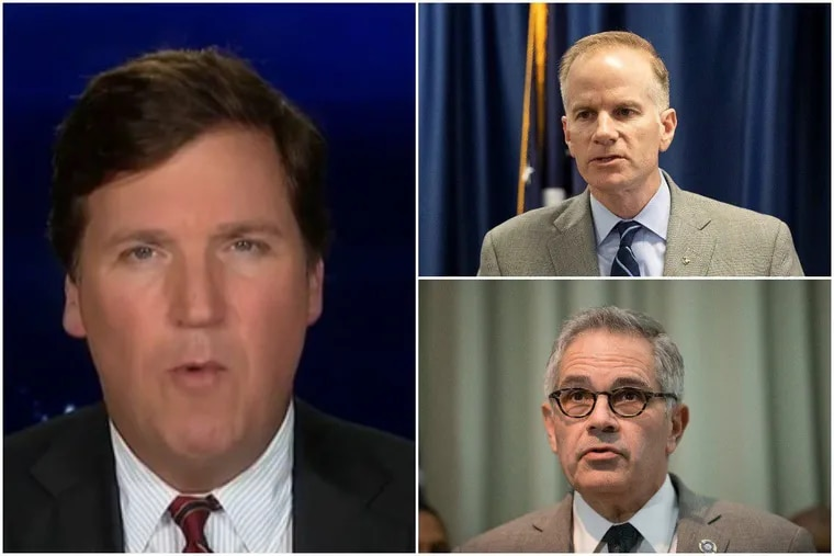 Fox News host Tucker Carlson (left) sent a crew to Philadelphia this week to interview U.S. Attorney William McSwain (top right) about Philadelphia District Attorney Larry Krasner (bottom right.)
