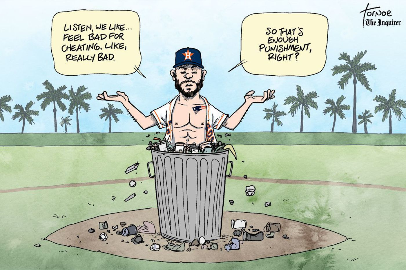 Sports cartoon: Cheaters never win ... except José Altuve and the Houston Astros