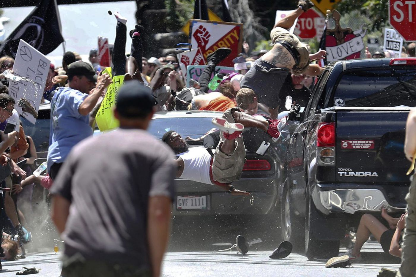 James Alex Fields Jr. drives his car into a crowd of people demonstrating against a white nationalist rally in Charlottesville, Va., on Aug. 12, 2017.