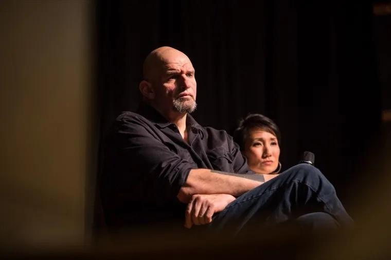 Lt. Gov. John Fetterman and Pennsylvania State Rep. Patty Kim (D., Dauphin) answer questions during the first stop on Fetterman's statewide listening tour designed to gather input on the possibility of legalizing recreational marijuana. Their first stop was on Feb. 11, 2019, at the Jewish Community Center in Harrisburg.