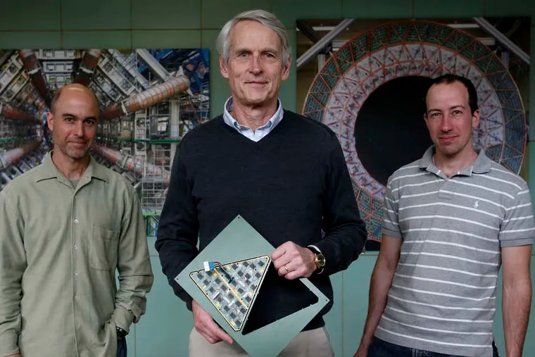 Penn particle physicists (from left) Joseph Kroll, Brig Williams, and Elliot Lipeles are looking for the elusive Higgs Boson, an elementary particle. An announcement is Tuesday morning.
