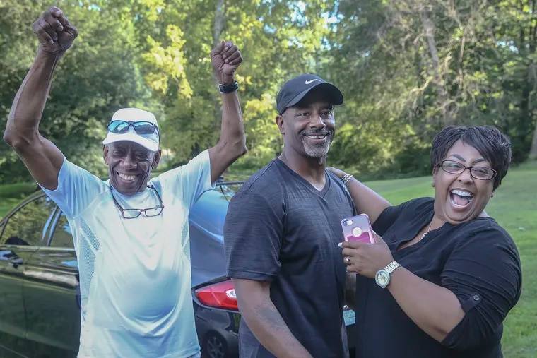 Chester Hollman III was ordered released from prison after serving 28 years of a life sentence for a murder for which he was innocent. Hollman celebrates with his father Chester Hollman, Jr., left and his sister Deanna as he takes his first steps of freedom from the State Correctional Institution at Retreat in Hunlock Creek, PA . The Commonwealth is expected to formally drop all charges against him later this month. Monday, July 15, 2019