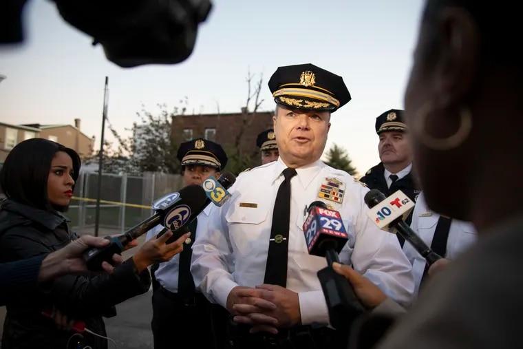 Philadelphia Deputy Commissioner Joe Sullivan speaks to reporters after the shooting of a 10-year-old boy on Margaret Street on Wednesday, Nov. 6, 2019.