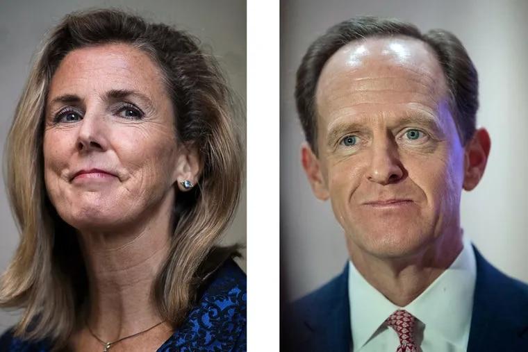 U.S. Senate hopeful Democrat Katie McGinty and Republican Sen. Pat Toomey, R-Pa.