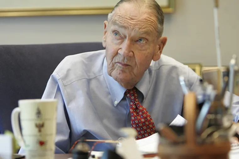 Jack Bogle looks up from his desk as one of his three assistants comes in to talk to him.(Michael Bryant / Staff Photographer)