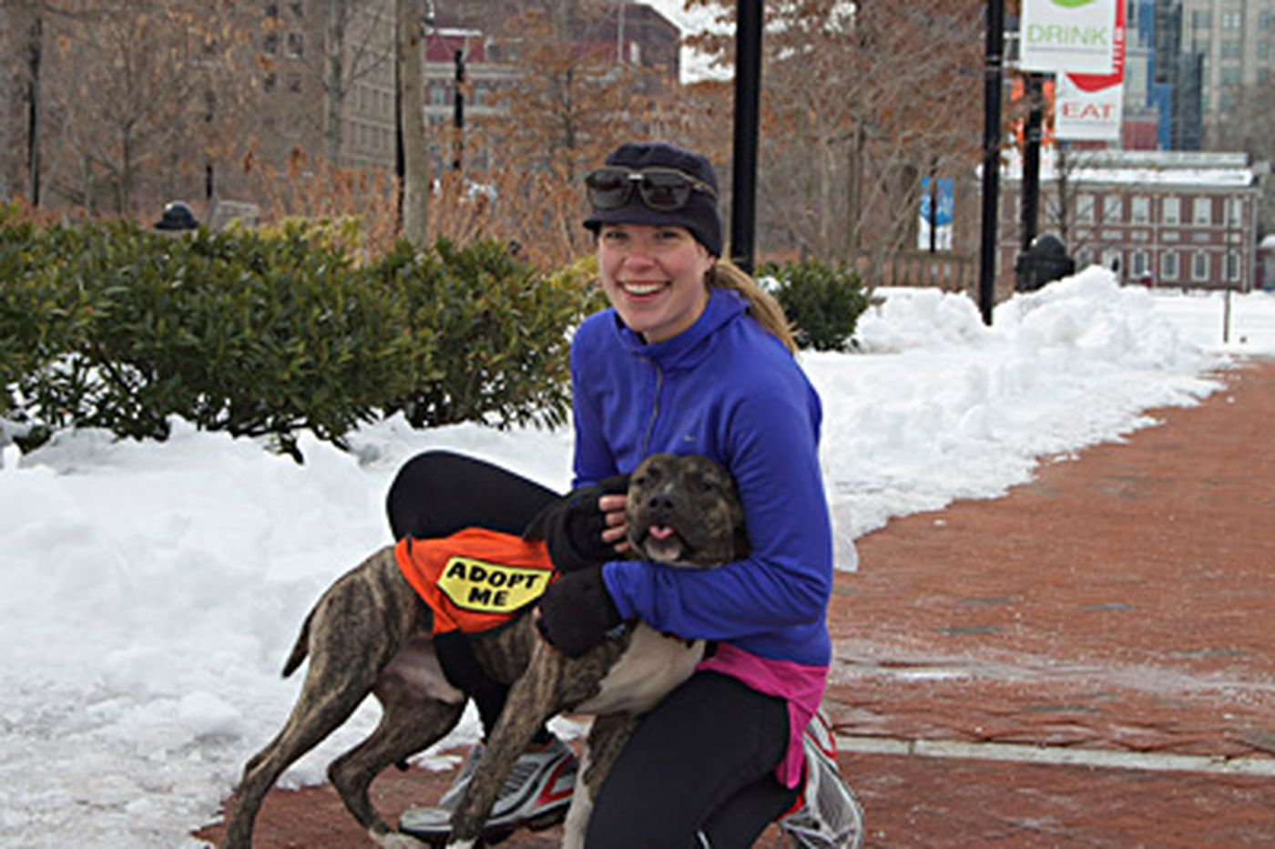 Dogs run with Broad Street entrants - in spirit