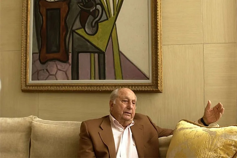 """Raymond G. Perelman, Philadelphia businessman and philanthropist, at home, in front of his Picasso """"The Lillies."""" His offspring have followed in his footsteps as donors and art collectors. (David Swanson/Staff Photographer)"""