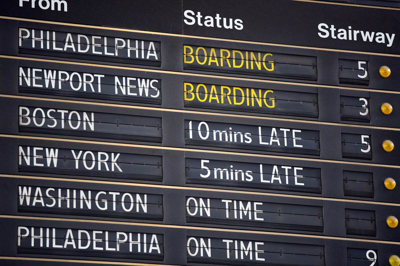 Sign of the times: At 30th Street Station, display board will soon be no more