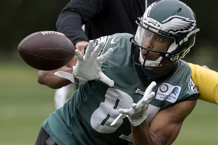 Eagles wide receiver Jordan Matthews catches a pass during OTAs in May.