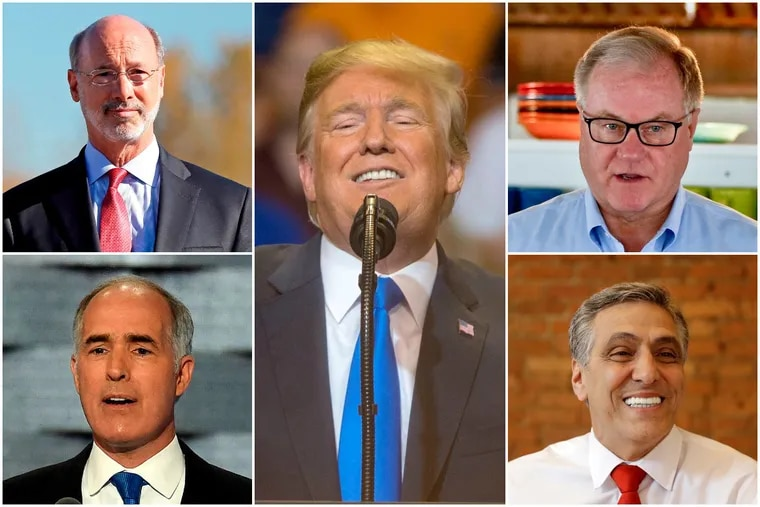 Pennsylvania's voters hold strong feelings about President Trump (center) while Gov. Wolf (top left) and U.S. Sen. Bob Casey Jr. (bottom left) hold double-digit leads over their Republican challengers, former state Sen. Scott Wagner (top right) and U.S. Rep. Lou Barletta (bottom right), according to a new Franklin & Marshall College Poll.
