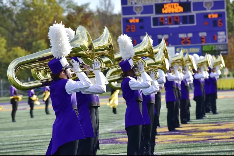 West Chester University has received a $3 million gift, the largest in the school's history, for its School of Music, from Alumni James and Richard Wells, the school announced Friday, Sept. 21, 2018. Pictured are members of West Chester University's Incomparable Golden Rams Marching Band.