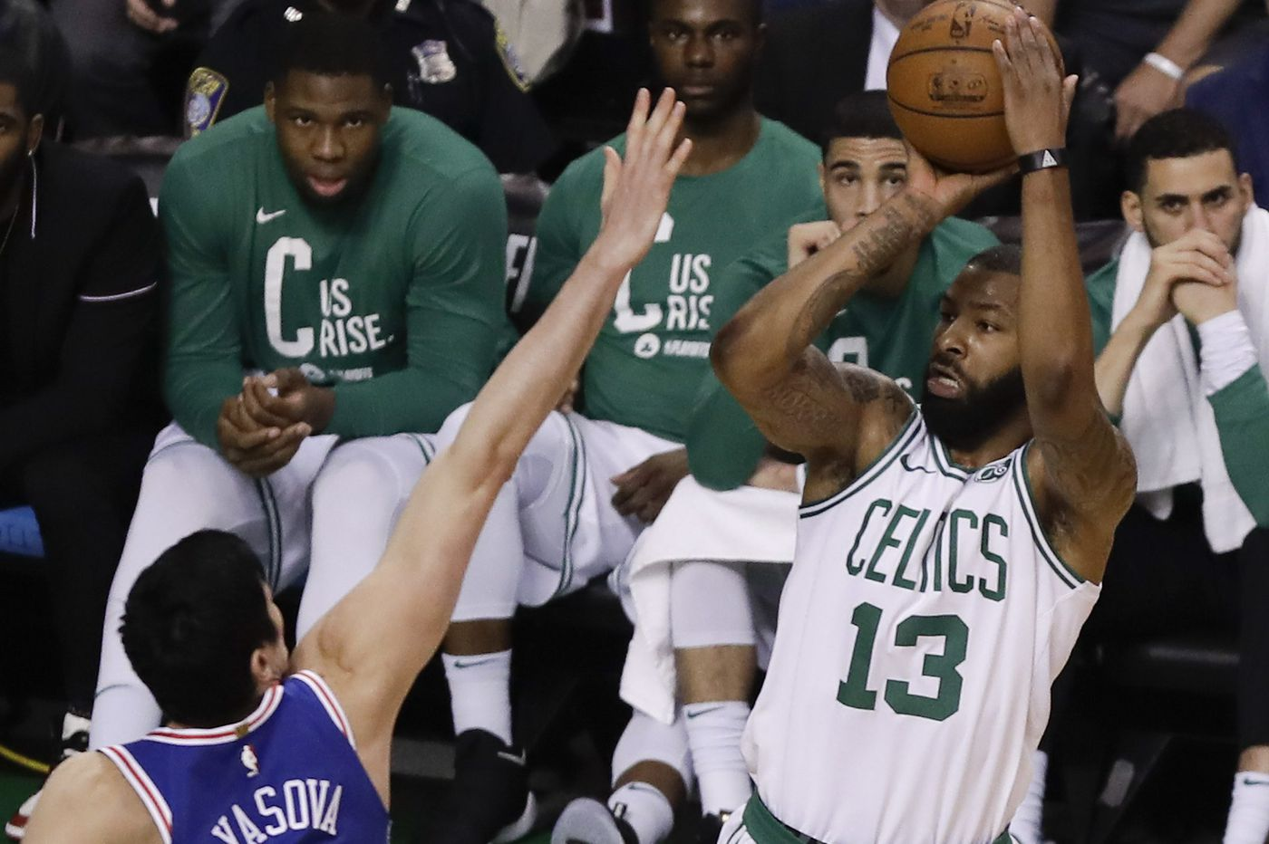 competitive price c01d5 840a5 Celtics' Marcus Morris continues to root for Philly